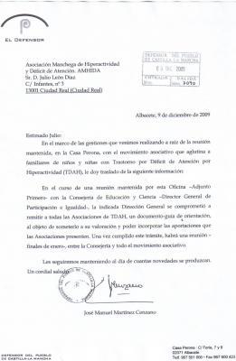 ESPERANZADORA CARTA DEL DEFENSOR DEL PUEBLO DE CASTILLA LA MANCHA